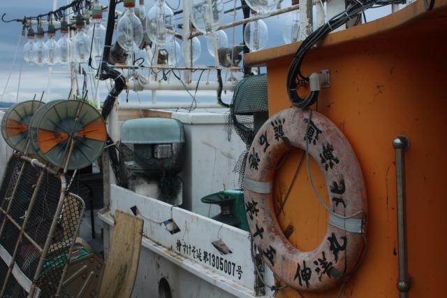 Squid fishing boats along the coast of western Honshu.