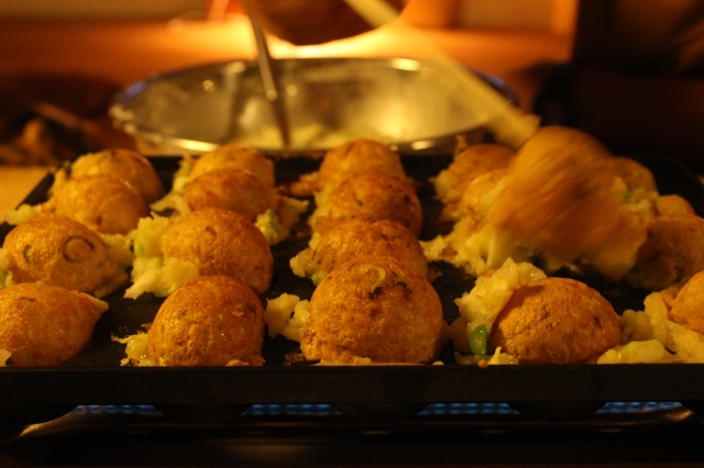 Takoyaki- battered octopus poppers- with the Suzuki family.