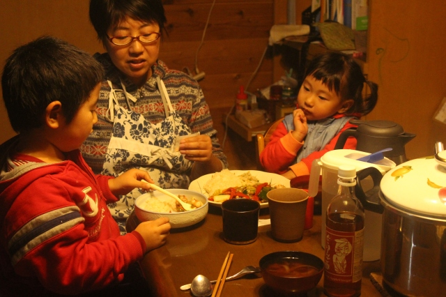 Family dinner at Shiratori farm.