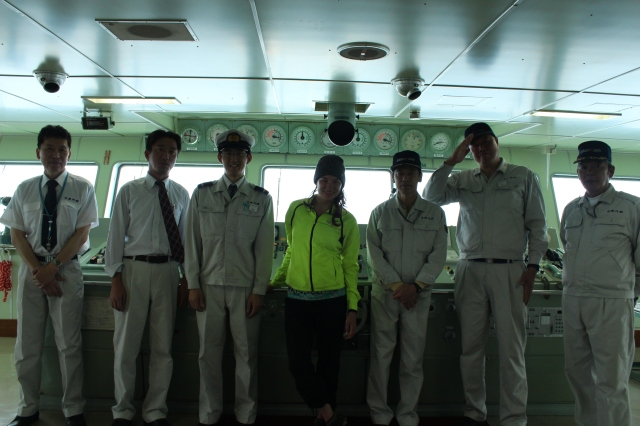 The crew of the ferry to Sado Island from Niigata. The tall man, second from right, is Toshi, who invited me up to the navigation deck to meet the crew. The captain, far left, called a cousin at the other port town, Ogi, and got me an invitation to stay at his guesthouse that night, out of the way of the latest typhoon rains. All done within a few hours aboard, to my utter surprise and gratitude.