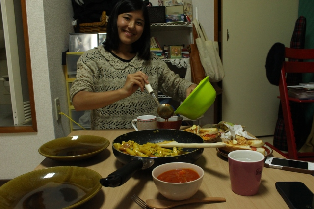 Nanako with our American feast.