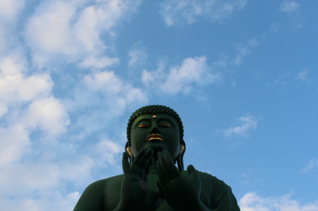 Peace and gratitude from the surprisingly green Buddha.