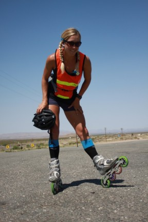 Kacie Fischer rollerbladed across America, and probably went faster than I did on a bike.